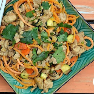 Thai Chicken Noodles (with zoodled sweet potatoes).