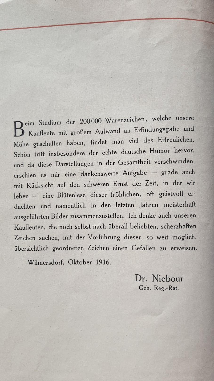 Warnezeichen-Humor - Vorwort von Dr. Niebour, Geheimer Regierungs-Rat, Wilmersdorf, Oktober 1916