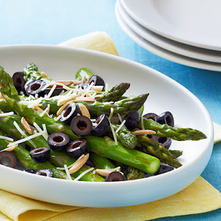 Pan Roasted Asparagus with Olives, Almonds and Parmesan