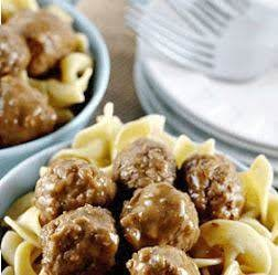 Meatballs And Mushroom Soup Over Egg Noodles.