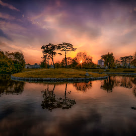 Nightfall by Brian J Kim - Landscapes Sunsets & Sunrises ( fortress, sunset, nightfall, suwon )