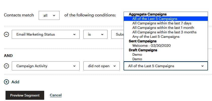 Cách phân khúc thuê bao trong MailChimp