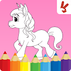 Unicorn coloring book for kids icon