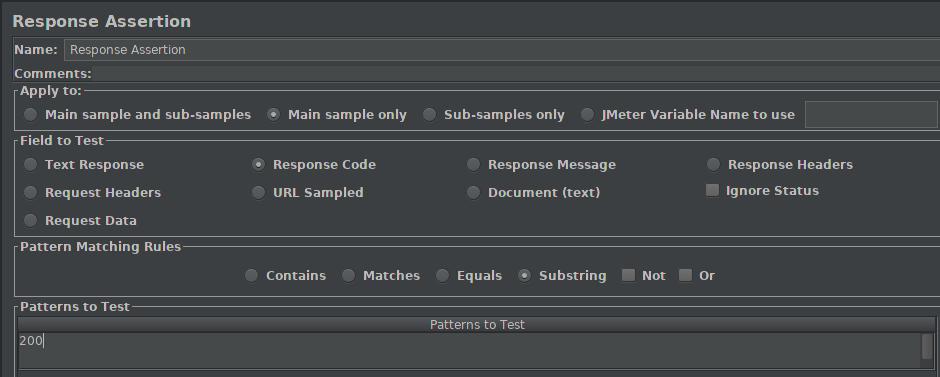 JMeter - Response Assertion
