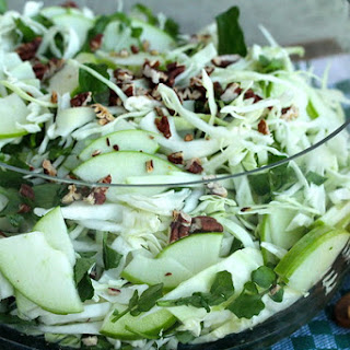Green Cabbage, Apple, Fennel, Watercress, and Pecan Salad.