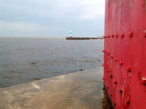 Photo: North arm of Muskegon Breakwater seen from the south arm.