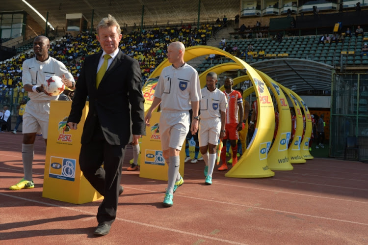 Ian McLeod leads the team out during a league match between Mamelodi Sundowns and Maritzburg United at Lucas Moripe Stadium on August 13, 2017 in Pretoria, South Africa.