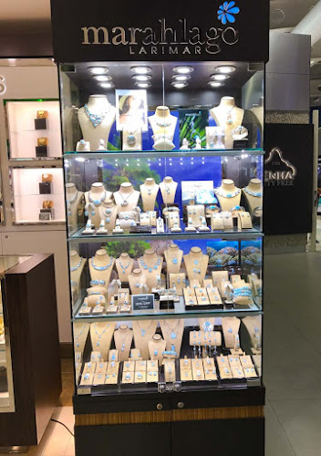 Marahlago jewelry at a duty-free store.