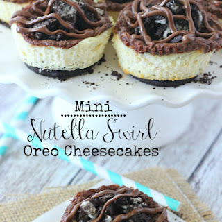 Mini Nutella Swirl Oreo Cheesecakes.