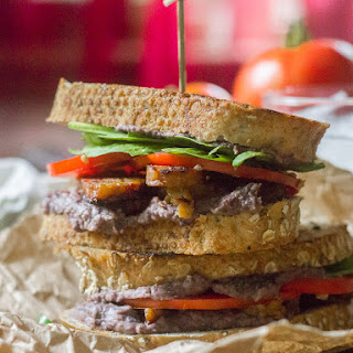 Grilled Black Bean & Tempeh Bacon Sandwiches.