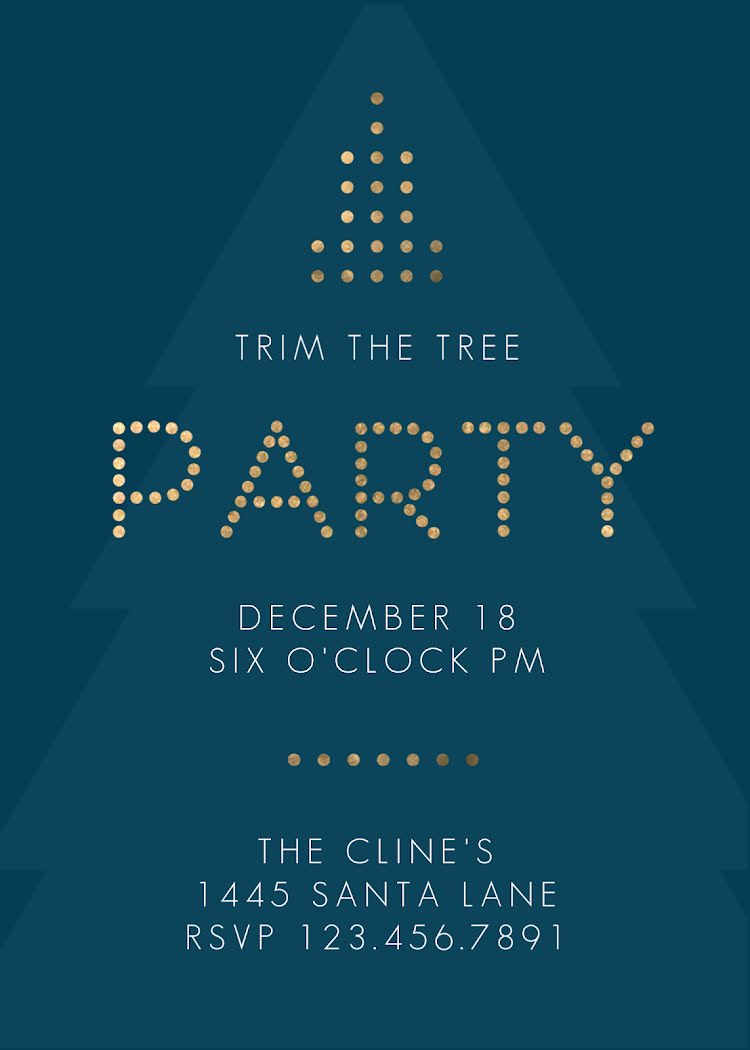Trim the Tree Party - Christmas Card Template
