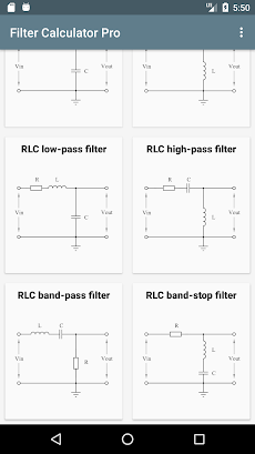 「Filter Calculator (RC, RL, LC, RLC)」 - Androidアプリ   APPLION