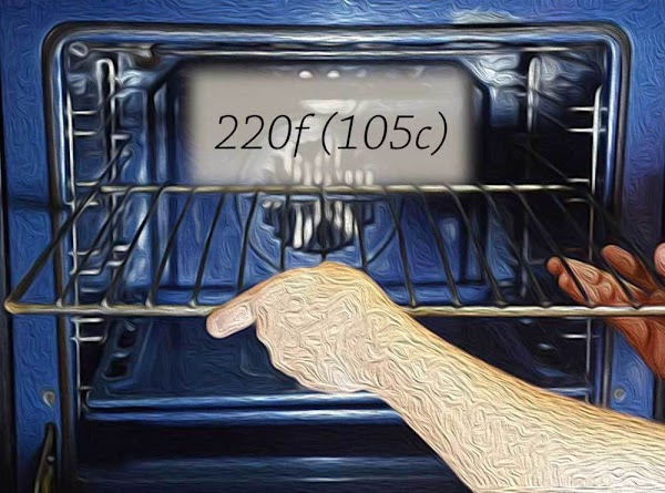 Place a rack in the middle position, and preheat the oven to 220f (105c).