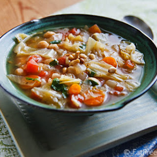 Simple Cabbage and Chickpea Soup with Fresh Basil.