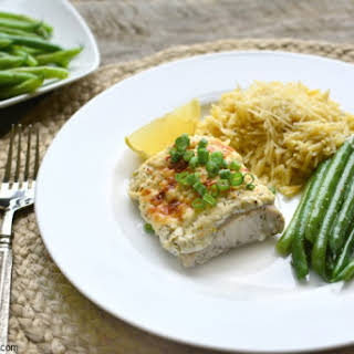 Baked Fish with Dill Sour Cream Topping.