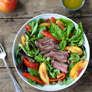 Steak Salad with Grilled Nectarines, Red Peppers & Pecans.