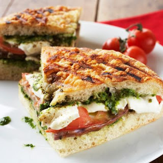 Grilled Fresh Mozzarella, Tomato & Pesto Panini
