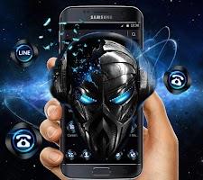 screenshot of Blue Tech Metallic Skull Theme