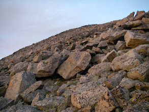 Photo: The continuing way up was via a steep talus slope and slabs.