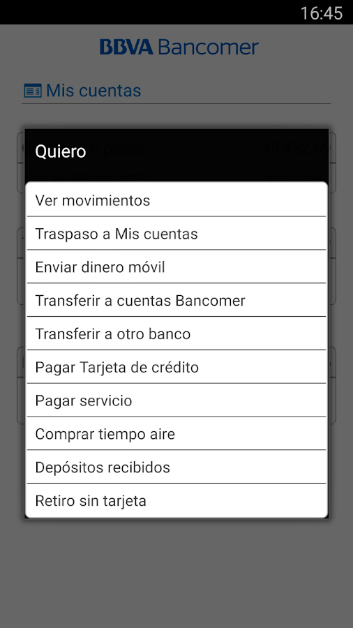Bancomer móvil- screenshot