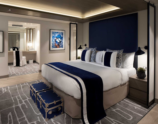 The master bedroom of a 1,578-square-foot Penthouse Suite on Celebrity Edge.