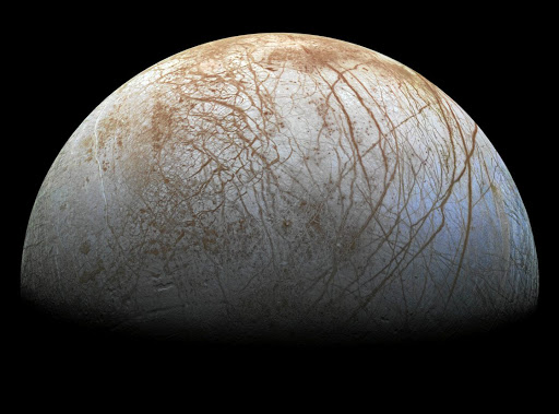 A view of Jupiter's moon Europa created from images taken by Nasa's Galileo spacecraft in the late 1990s, obtained by Reuters on May 14 2018. Picture: NASA/JPL-CALTECH/SETI INSTITUTE VIA REUTERS