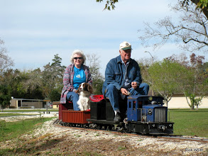 Photo: Letha Grace with her dog and Gary McCoy with his put put.   2009-1127 HALS Anniversary Meet