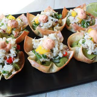 Spicy Crab Salad & Guacamole Wonton Cups.