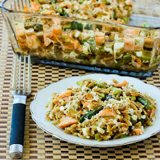 Whole Wheat Orzo Casserole with Salmon, Asparagus, and Feta.