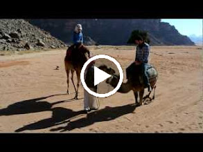 Video: Serene and Scott on their 1 JD camel ride around our first jeep stop