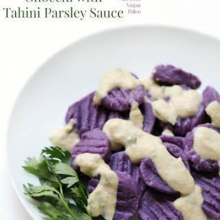 Purple Sweet Potato Gnocchi with Tahini Parsley Sauce.