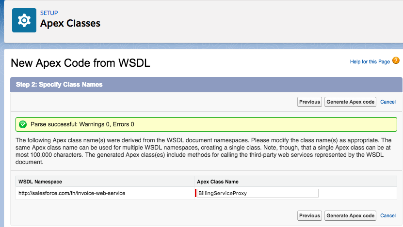 WSDLから生成されたApexクラス