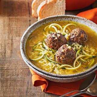 Meatball, Orzo & Zucchini Soup.