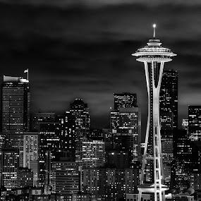 Seattle Skyline at Night by Victor Harris - City,  Street & Park  Skylines ( pwcskylines-dq, skyline, space needle, b&w, seattle, night,  )