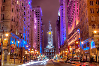 Photo: Terminal view of Philadelphia's City Hall looking up Broad Street in Center City.