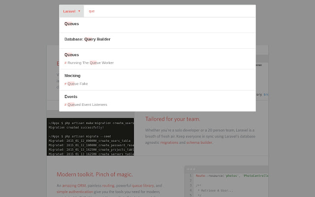 Laravel/Yii 2 Docs Search Autocomplete