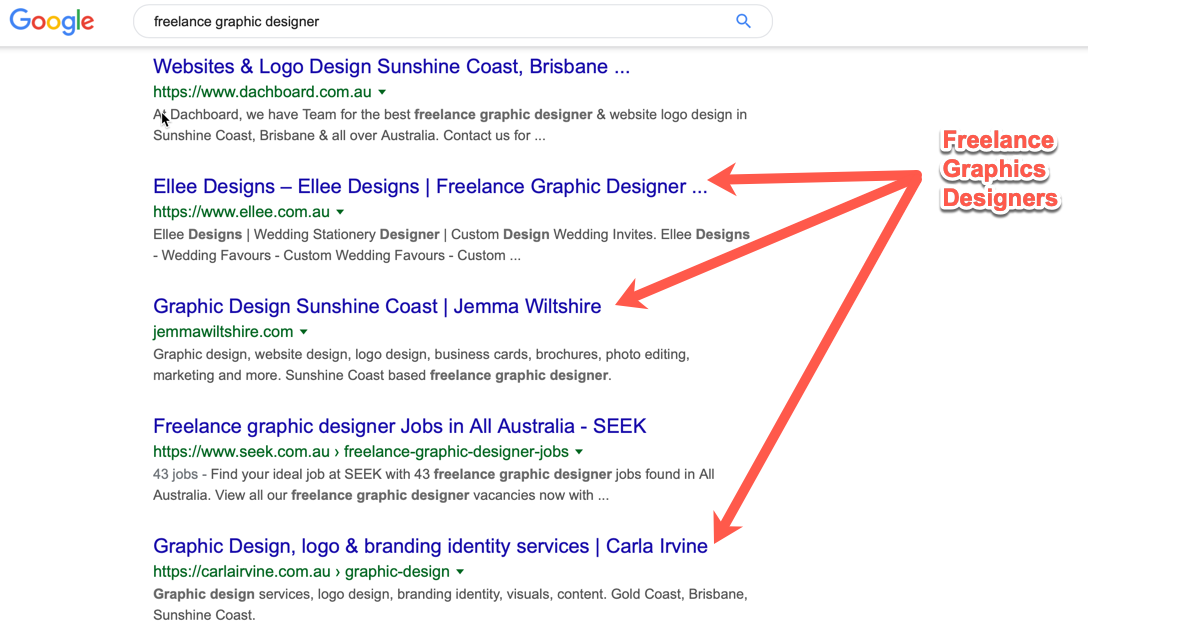 Google search results for graphic design freelancer
