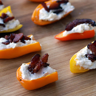 Bacon & Feta Stuffed Mini Peppers Appetizer.