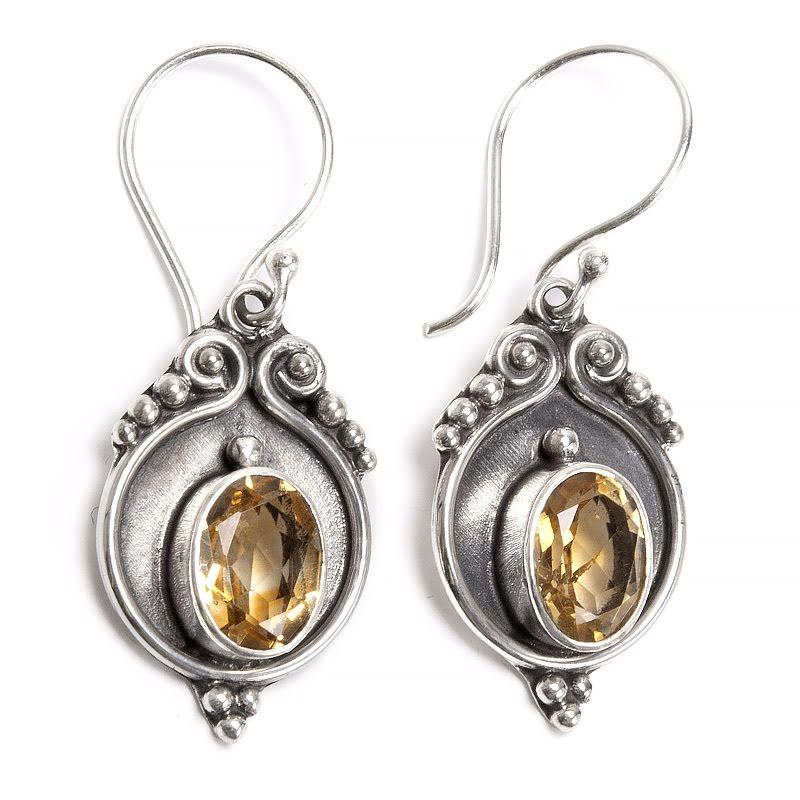Citrin, örhängen i sterling silverfiligran