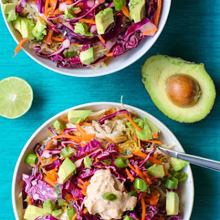Shredded Chicken Burrito Bowls with Cabbage Slaw and Chipotle Cream