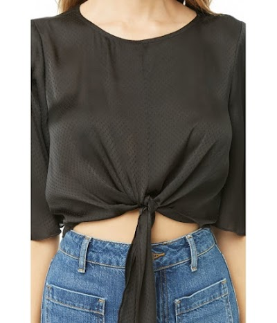 Imbracaminte Femei Forever21 Dotted Satin Crop Top BLACK