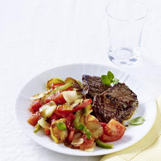 Minute Steaks with Warm Vegetable Salad.