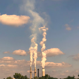 Nipsco by Debra Summers - Novices Only Objects & Still Life ( grass, smoke stacks, clouds, trees )
