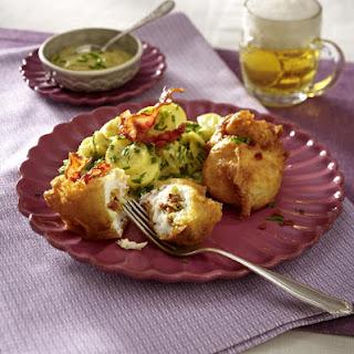 Stuffed Fish Fritters with Warm Potato Salad.