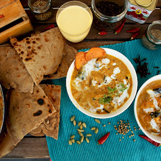 Roasted Eggplant Curry with Whole Grain Cheese Paratha Flat Bread.