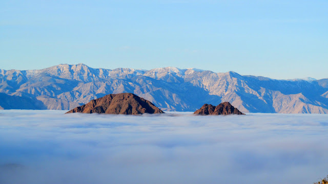 Ubehebe Peak (left foreground) peeking out of the fog