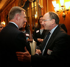 Photo: BBA President Paul Dacier greets Justice Ralph Gants, recently confirmed as the next Chief Justice of the Supreme Judicial Court.