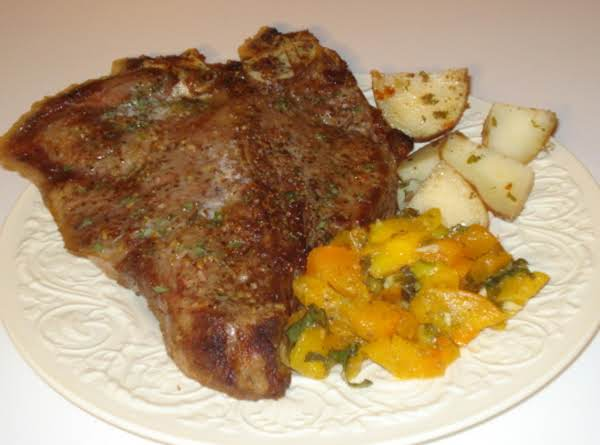 Gigantic Porterhouse, With Garlic Roasted Potatoes, And Yellow Tomato Basil Salad Recipe