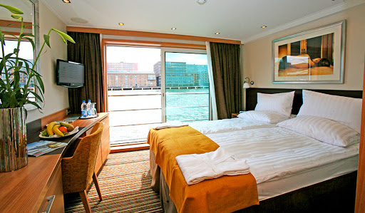 Most staterooms and suites on Avalon Affinity feature French balconies (floor-to-ceiling windows).