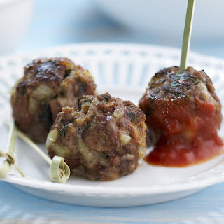 Meatballs Stuffed with Cheddar and Basil